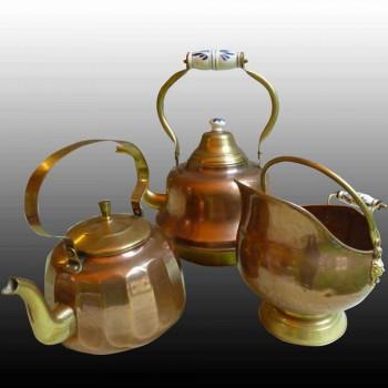 kettle-cauldron in tinned copper and porcelain-folk art 19th century