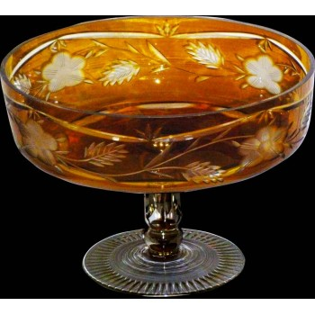 coupe centre de table en cristal de bohème ambré