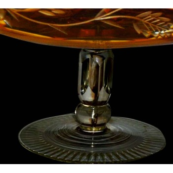amber bohemian crystal centerpiece cup