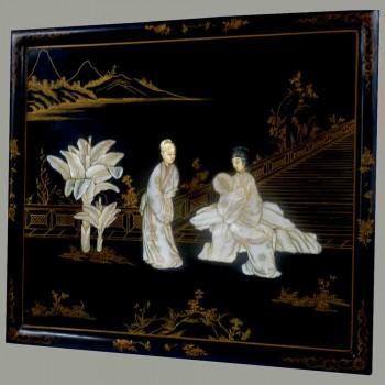 Lacquered wood panel and mother-of-pearl inlays